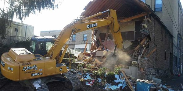 A picture of a demolition of a residential structure in east stroudsbug, pa