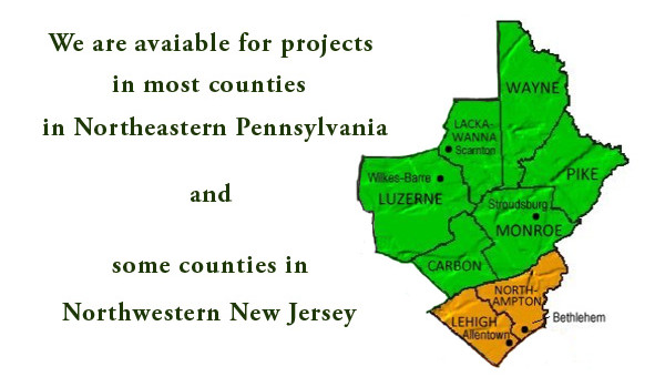 A map of the service counties in Northeastern Pennsylvania that L.Marki and Son, Inc. accepts projects from