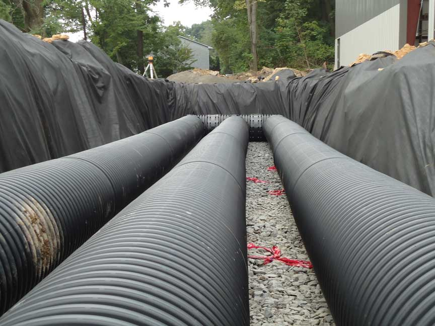 A picture of the drainage pipes installed