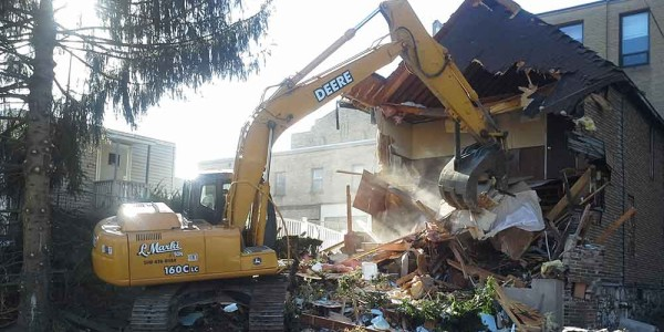 A picture of the demolition of the housing at Saint Matthews Chruch, East Stroudsburg.
