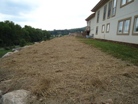 A picture of the top of the retaining wall seeded for grass