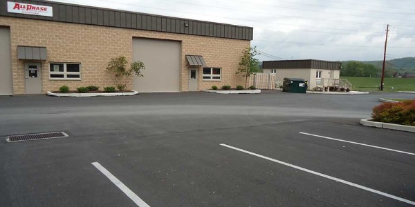 Picture of a completed parking lot, at Stroud Industrial Park